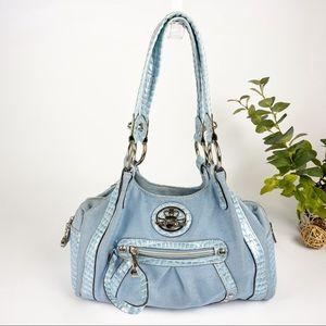 Kathy Van Zerlad Handbag Blue Satchel Croc Handle